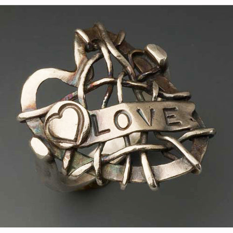 Sherri Cohen Design Mended Heart With Love Ring, Artistic Artisan Designer Jewelry