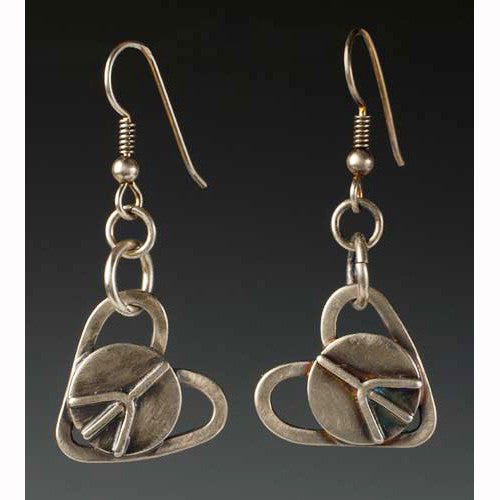 Sherri Cohen Design Peaceful Heart Earrings, Artistic Artisan Designer Jewelry