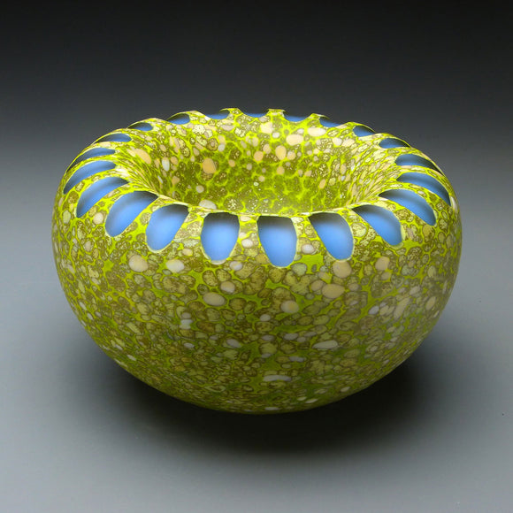 Shoal Series in Sandbar Handblown Glass Bowl by Thomas Spake Studios Artisan Handblown Art Glass Bowls