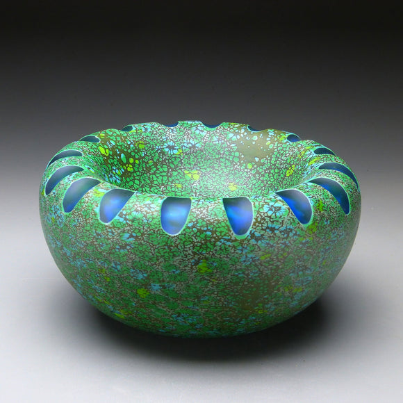 Shoal Series in Tidepool Handblown Glass Bowl by Thomas Spake Studios Artisan Handblown Art Glass Bowls