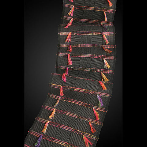 Sosumi Weaving by Pamela Whitlock Africa Scarf in Ash and Mardi Gras Artistic Handwoven Scarves