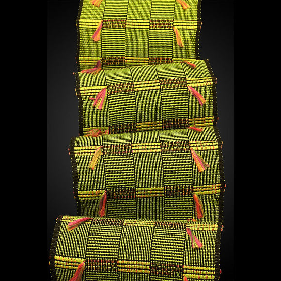 Africa Scarf in Lime and Mardi Gras by Sosumi Weaving Pamela Whitlock Handwoven Bamboo Scarves