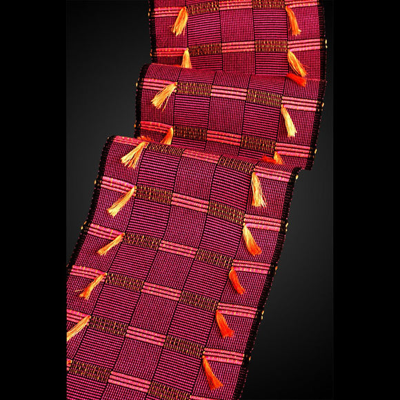 Africa Scarf in Magenta Tangerine and Pumpkin by Sosumi Weaving Pamela Whitlock Handwoven Bamboo Scarves