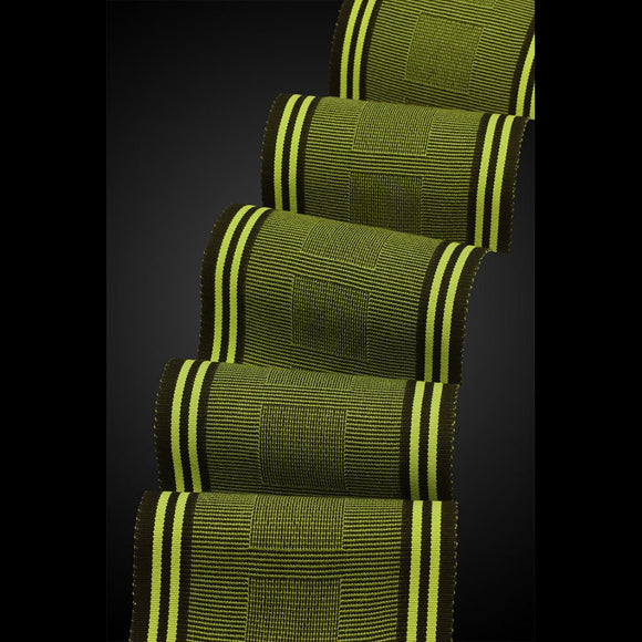 Beemer Scarf in Olive and Lime by Sosumi Weaving Pamela Whitlock Handwoven Bamboo Scarves