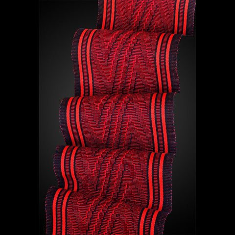 Deep V Scarf in Passion and Paprika by Sosumi Weaving Pamela Whitlock Handwoven Bamboo Scarves