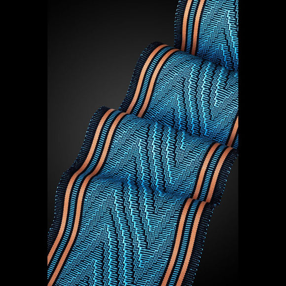 Sosumi Weaving by Pamela Whitlock Deep V Scarf in Turquoise and Tangerine Artistic Handwoven Scarves