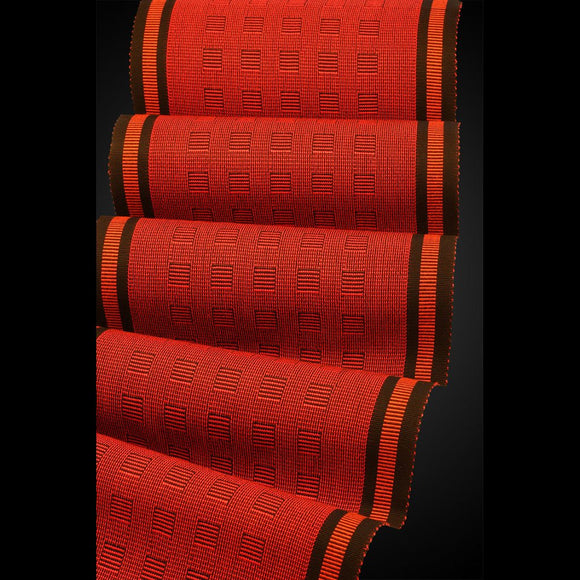 Megala Scarf in Passion and Paprika by Sosumi Weaving Pamela Whitlock Handwoven Bamboo Scarves