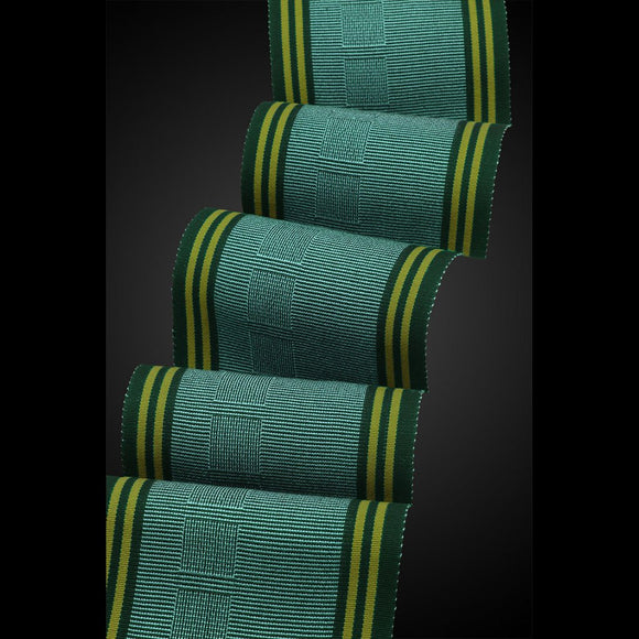 OK Beemer Scarf in Spruce and Olive by Sosumi Weaving Pamela Whitlock Handwoven Bamboo Scarves