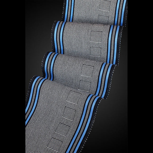 Sosumi Weaving by Pamela Whitlock OK Beemer Scarf in Walnut and Perfect Blue Artistic Handwoven Scarves