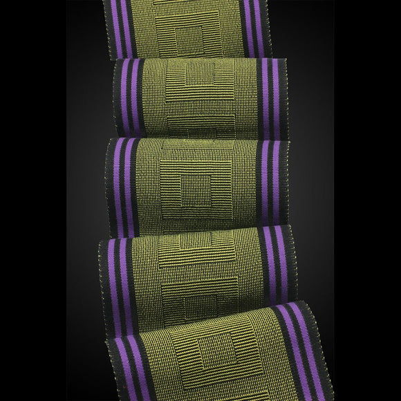 Sosumi Weaving by Pamela Whitlock Square Squared Scarf in Green Tea and Pansy Artistic Handwoven Scarves