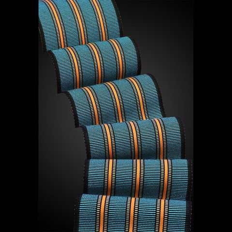 Sosumi Weaving by Pamela Whitlock Wilder Scarf in Turquoise Tangerine and Walnut Artistic Handwoven Scarves