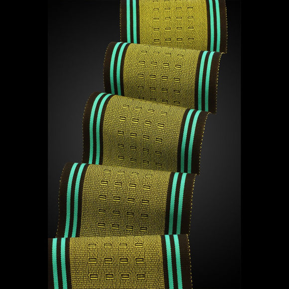 Sosumi Weaving by Pamela Whitlock Wink Scarf in Lime and Turquoise Artistic Handwoven Scarves