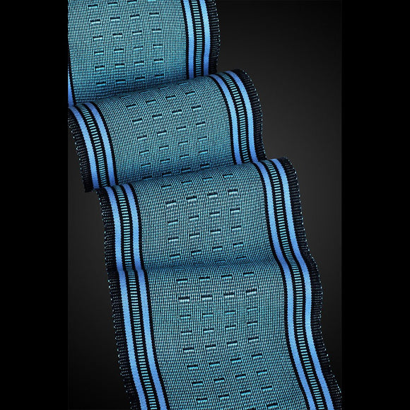 Sosumi Weaving by Pamela Whitlock Wink Scarf in Turquoise and Pure Blue Artistic Handwoven Scarves