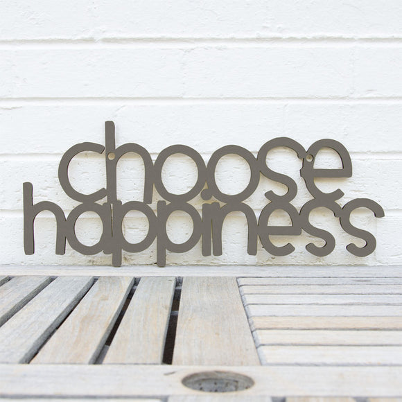 Spunky Fluff Artful Sign Choose Happiness Artistic Cut Out Wood Signs Inspirational word art for your wall