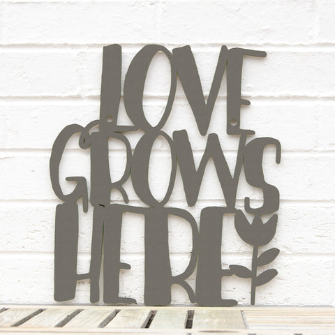 Spunky Fluff Artful Sign Love Grows Here Artistic Cut Out Wood Signs Inspirational word art for your wall