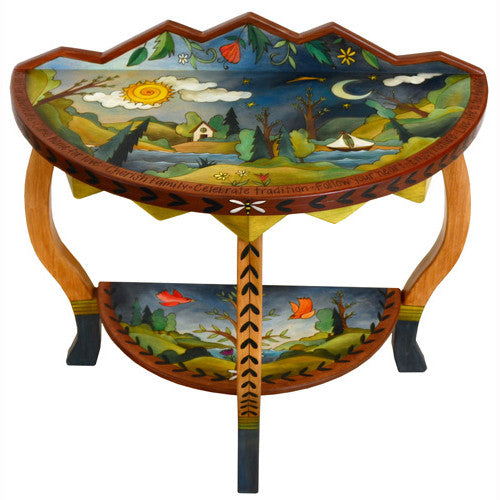 Sticks Accent Half Round Table HAL002 D74524 Top, Artistic Artisan Designer Tables