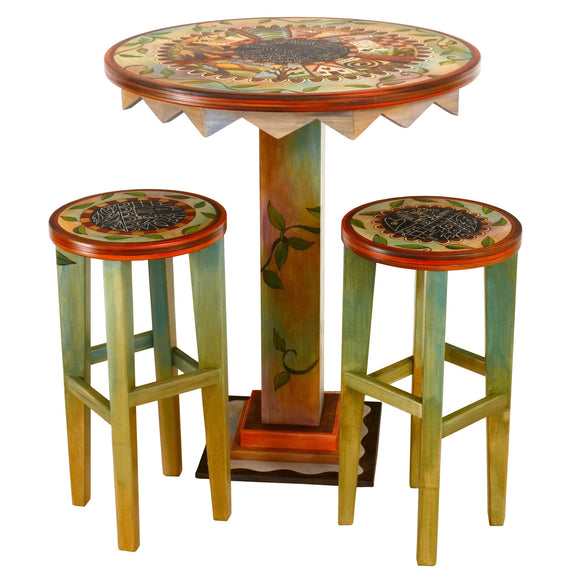 Sticks Bar Height Stool with Round Wooden Seat STL077-D74607, Artistic Artisan Designer Seating and Chairs