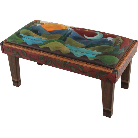 Sticks Leather Bench with Milled Legs, BEN006, BEN014-S314730, Artistic Artisan Designer Benches
