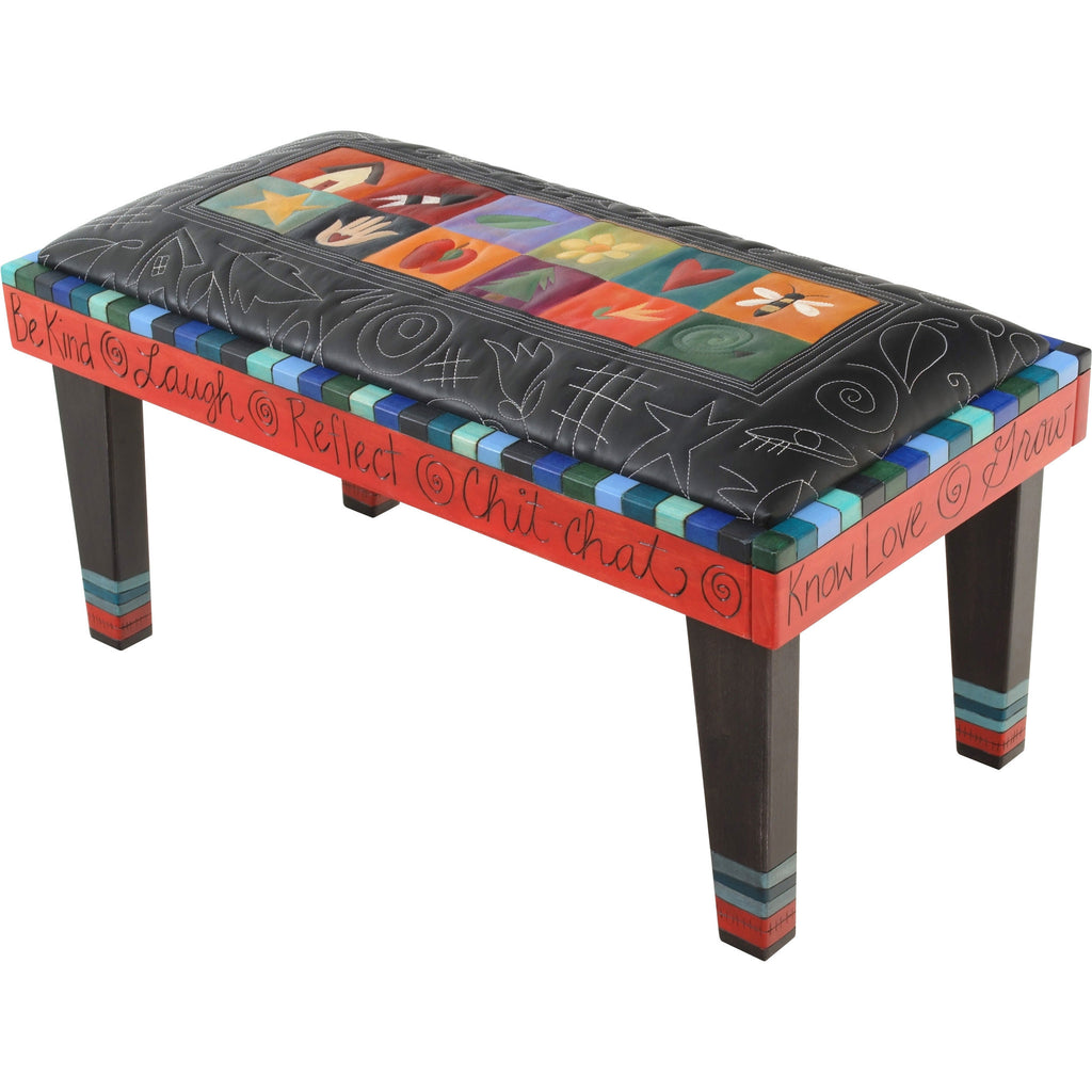 Sticks Leather Bench with Milled Legs, BEN006,BEN016-S317060, Artistic Artisan Designer Benches