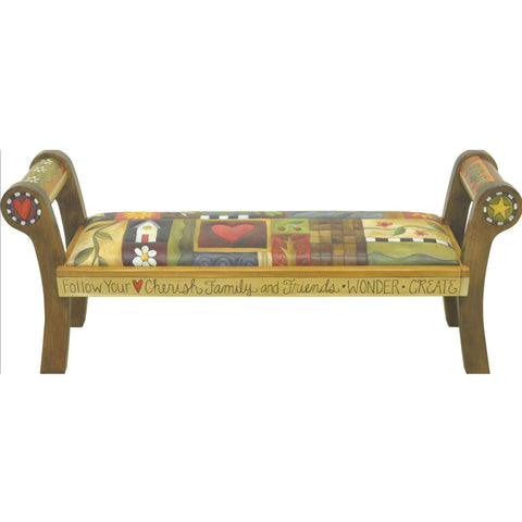 Sticks Leather Rolled Arm Bench BEN050 Artistic Artisan Designer Benches
