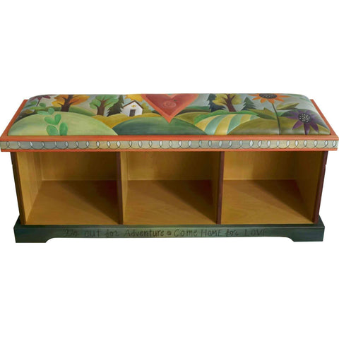 Sticks Leather Storage Bench without Boxes Artistic Artisan Designer Storage Benches