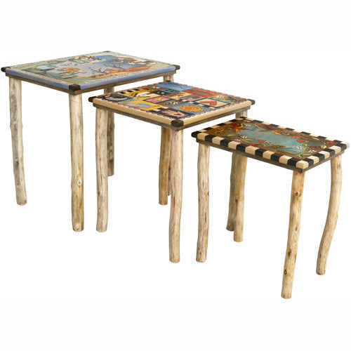 Sticks Nesting Tables END007 D72342a, Artistic Artisan Designer Tables
