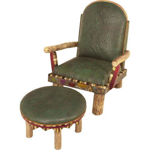 Sticks Overstufffed Leather Chair CHR032-D09579, Artistic Artisan Designer Seating and Chairs