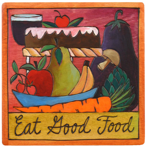 Sticks Plaque Eat Good Food PLQ001-D73914, Artistic Artisan Designer Plaques Wall Art With Inspiration Words, Phrases, and Sayings