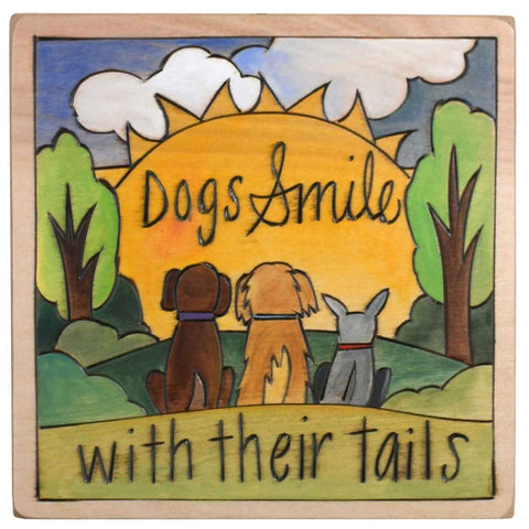 Sticks Plaque PLQ001 PLQ003 010210 Dogs Smile With Their Tails Artistic Artisan Designer Plaques