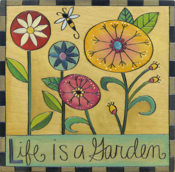 Sticks Plaque PLQ001 PLQ003 013894 Life is a Garden Artistic Artisan Designer Plaques