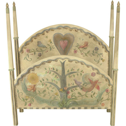Queen Bed with Tall Milled Posts and 3D Carved Elements by Sticks BED020-D06857