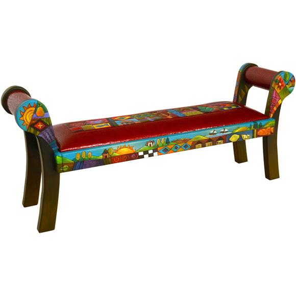 Sticks Roll Arm Bench BEN050-D701026, Artistic Artisan Designer Benches