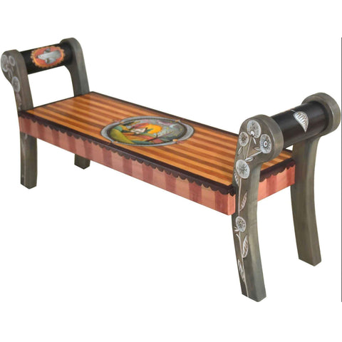 Rolled Arm Bench by Sticks BEN053