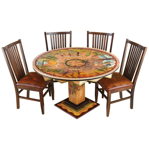 Sticks Round Dining Table DIN D73626, Artistic Artisan Designer Tables