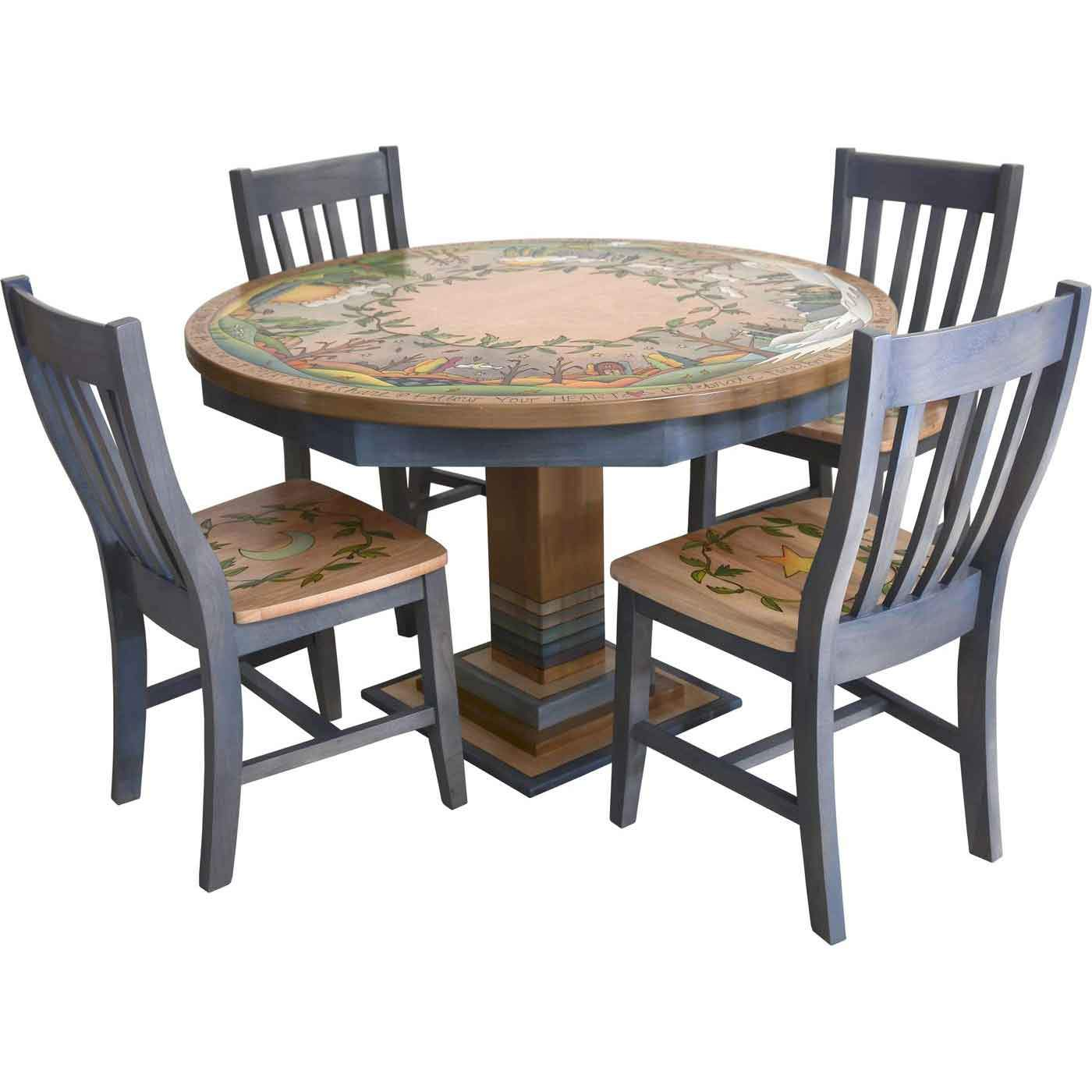 Sticks Round Dining Table With Pops Chairs Din032 Din034 Din036 Chr800 Din038 12975 Artistic Artisan Designer Dining Tables Sweetheart Gallery Contemporary Craft Gallery Fine American Craft Art Design Handmade Home