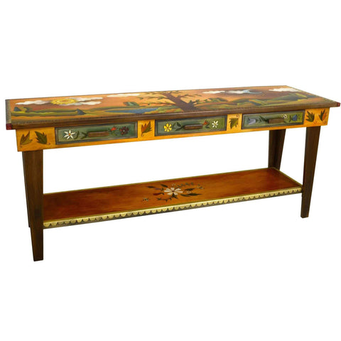Sticks Sofa Table with Three Drawers 1 SFA024 Artistic Artisan Designer Sofa Tables