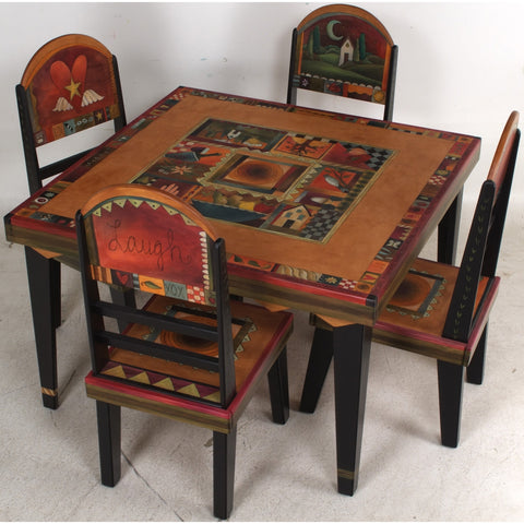 Sticks Square Dining Table with Milled Legs DIN002-S34439, Artistic Artisan Designer Tables