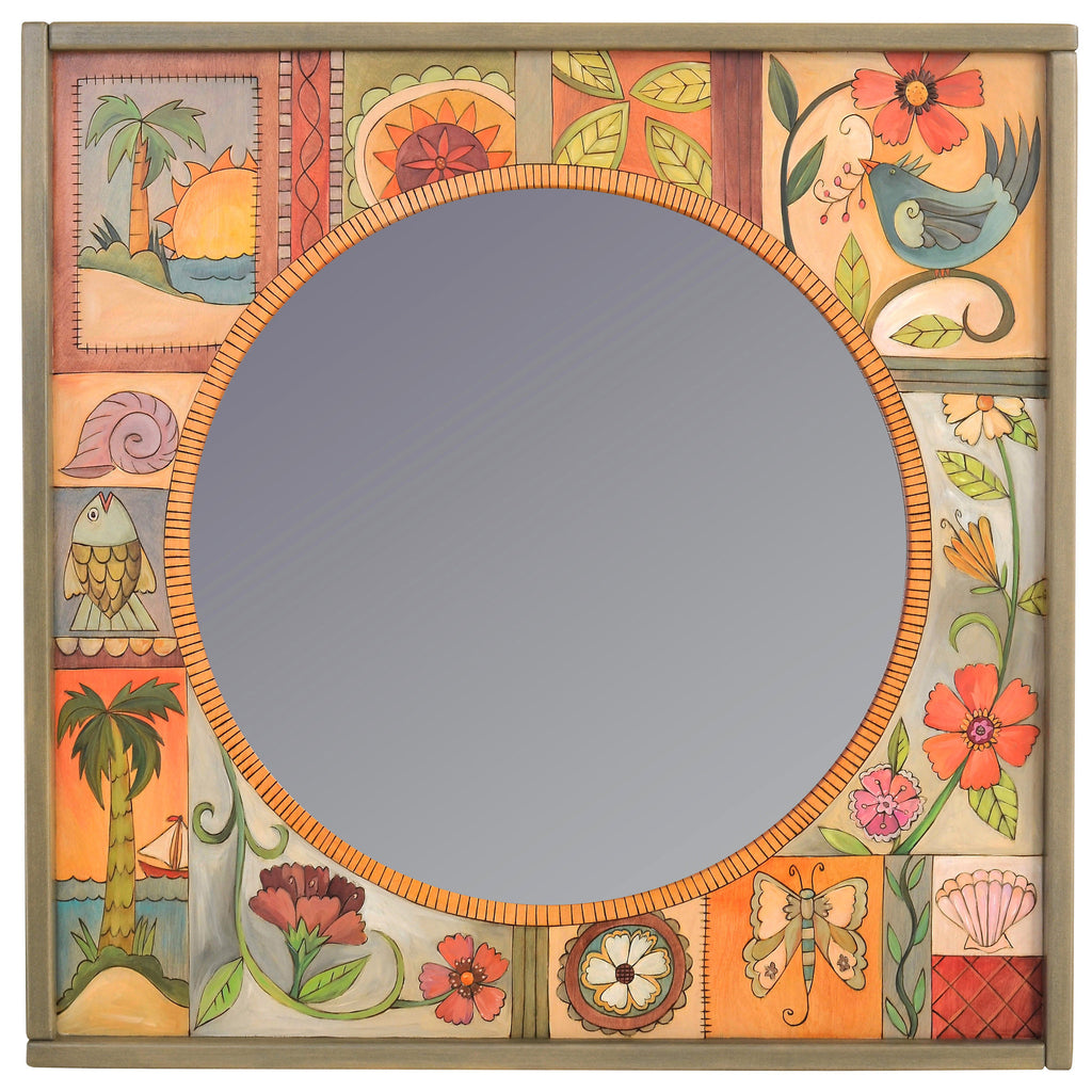 Square Framed Circular Mirror by Sticks MIR038-D75459