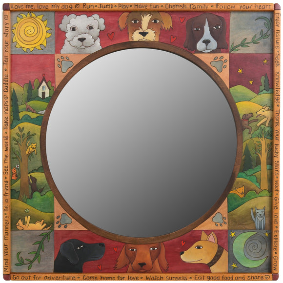 Square Framed Circular Mirror by Sticks MIR038-D75711
