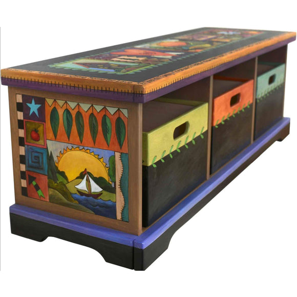 Sticks Storage Bench with Boxes BEN036 Artistic Artisan Designer Benches