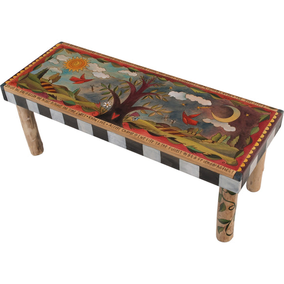 Sticks Wood Bench with Log Legs Ben001, BEN011-S314263, Artistic Artisan Designer Benches
