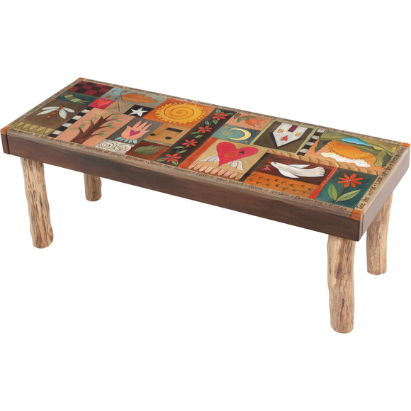 Sticks Wood Bench with Log Legs, BEN001, BEN011-S316562, Artistic Artisan Designer Benches