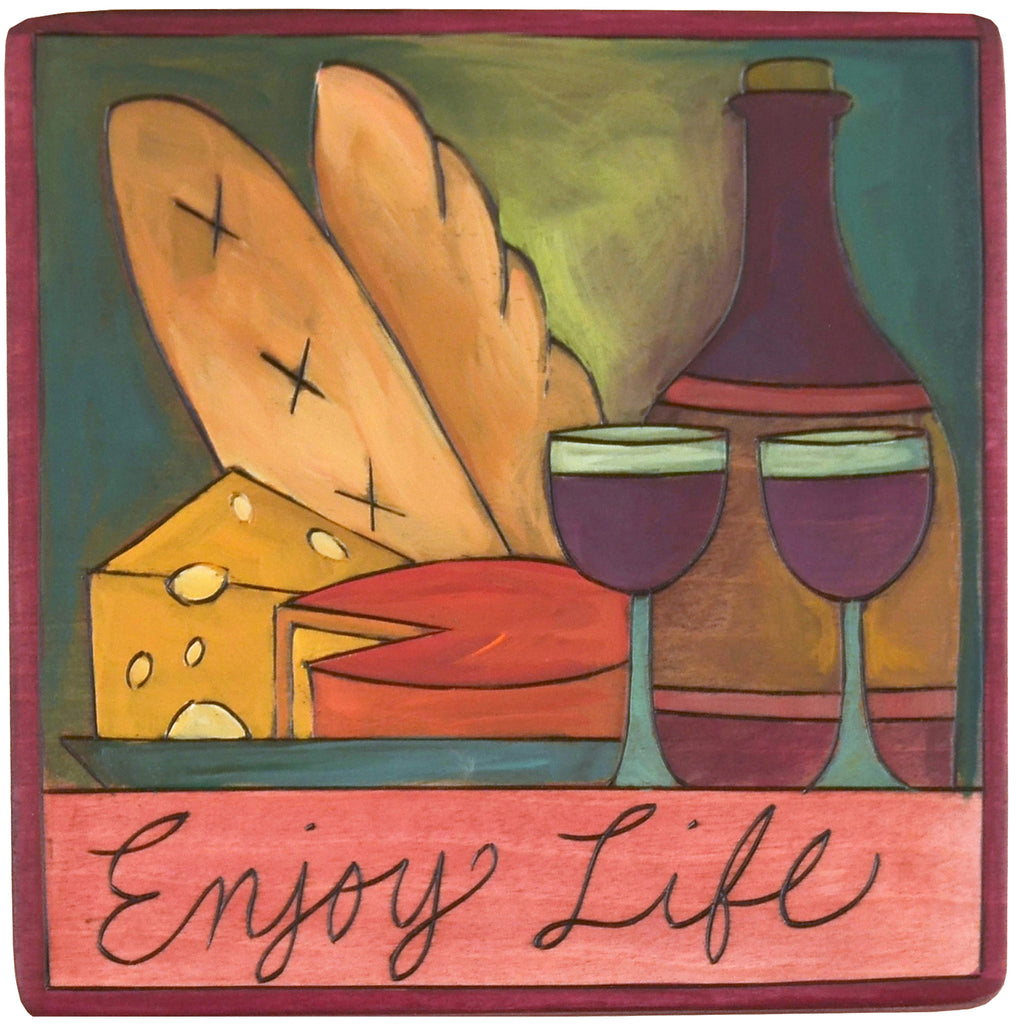 Sticks Plaque Enjoy Life PLQ001-D75234, Artistic Artisan Designer Plaques Wall Art With Inspiration Words, Phrases, and Sayings