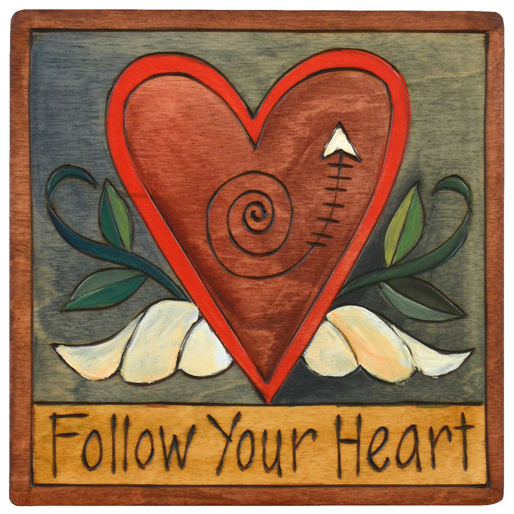 Sticks Plaque Follow Your Heart PLQ001-D73912, Artistic Artisan Designer Plaques Wall Art With Inspiration Words, Phrases, and Sayings