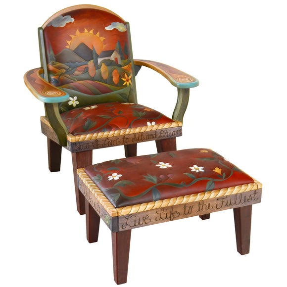 Sticks Friedrichs Chair & Ottoman CHR075, OTT002-D73257, Artistic Artisan Designer Seating and Chairs
