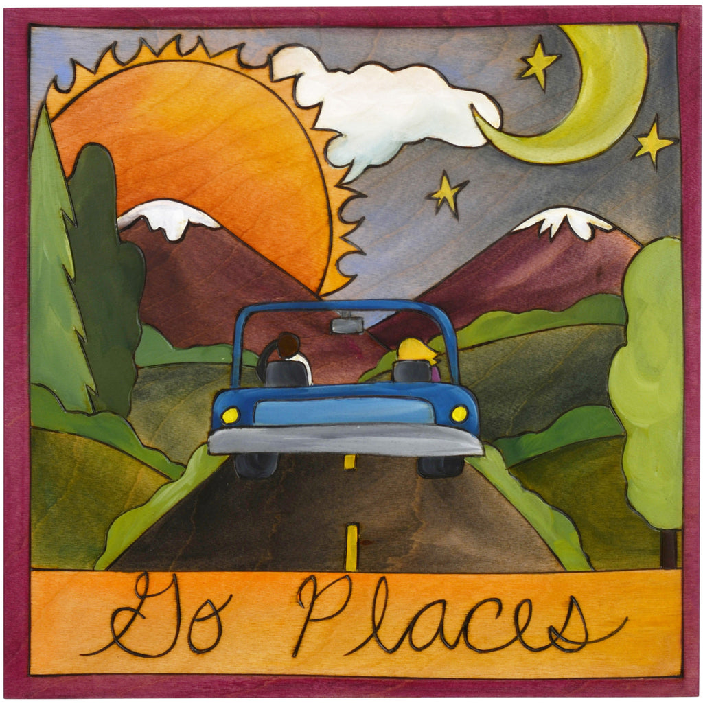 Sticks Plaque Go Places PLQ001-D700329, Artistic Artisan Designer Plaques Wall Art With Inspiration Words, Phrases, and Sayings