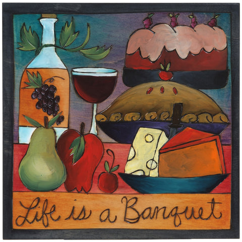 Sticks Plaque Life is a Banquet PLQ001-S311655, Artistic Artisan Designer Plaques Wall Art With Inspiration Words, Phrases, and Sayings