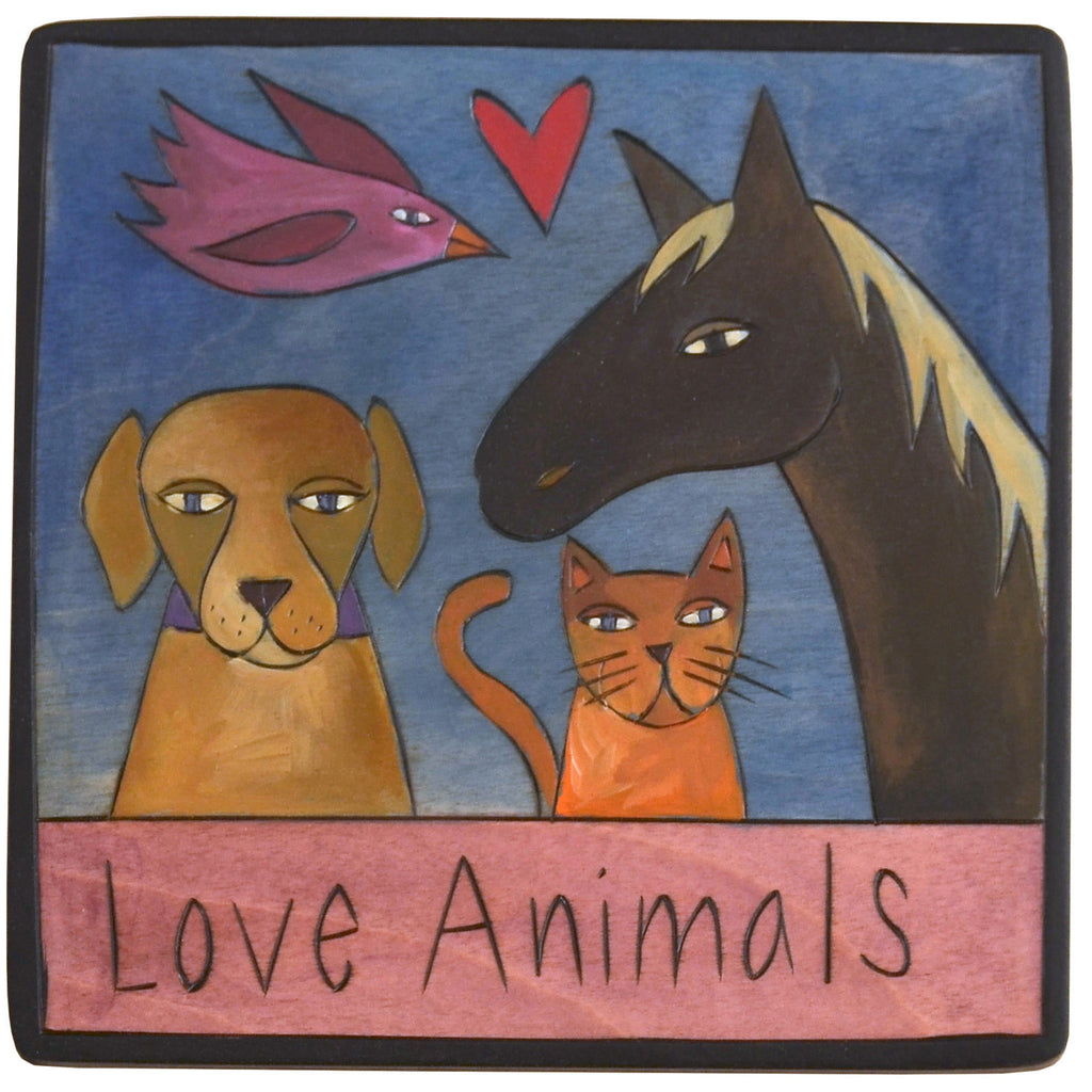 Sticks Plaque Love Animals PLQ001, PLQ010-D75235, Artistic Artisan Designer Plaques Wall Art With Inspiration Words, Phrases, and Sayings
