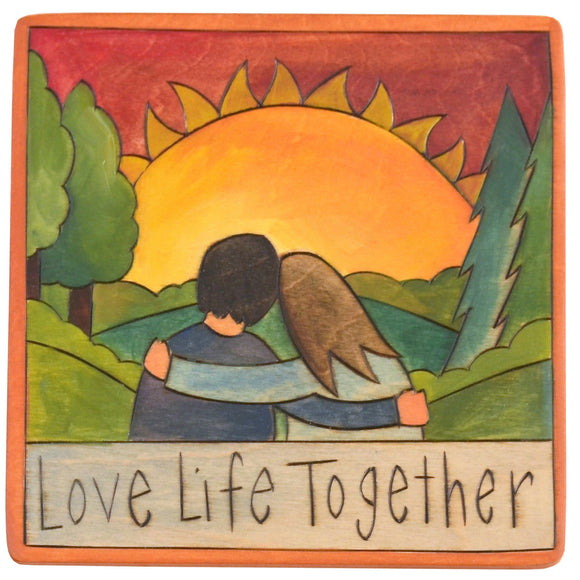 Sticks Plaque Love Life Together PLQ001, PLQ010-D75233, Artistic Artisan Designer Plaques Wall Art With Inspiration Words, Phrases, and Sayings