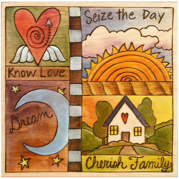 Sticks Plaque Quilt Style PLQ001-D70326, Artistic Artisan Designer Plaques Wall Art With Inspiration Words, Phrases, and Sayings